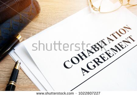 stock photo cohabitation agreement paperwork