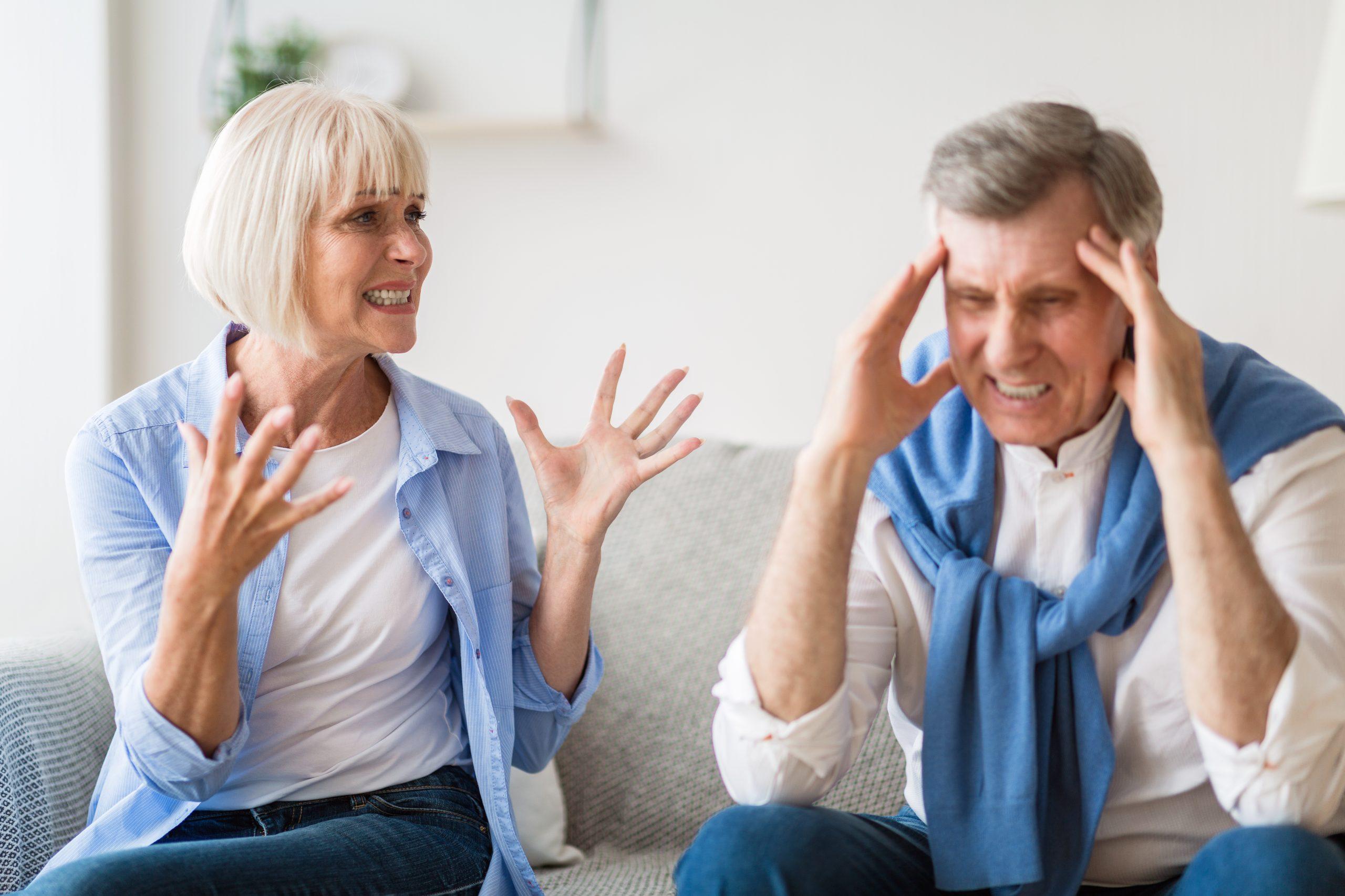 Elderly couple arguing about divorce after retirement