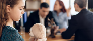 Parents discussing uncontested divorce with children.