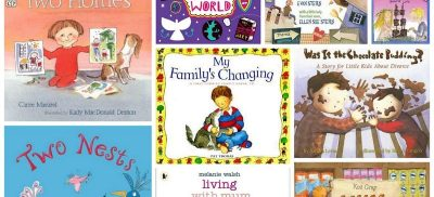 Cover images of children's books about divorce and separation.