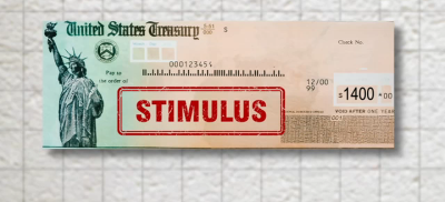 Photo of stimulus check.